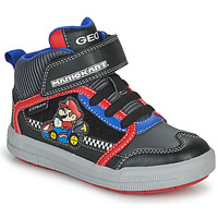 Shoes Boy High top trainers Geox ARZACH Black / Blue / Red