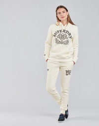 material Women Tracksuit bottoms Superdry PRIDE IN CRAFT JOGGER Ecru