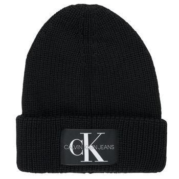 Clothes accessories Men hats Calvin Klein Jeans MONOGRAM BEANIE WL Black