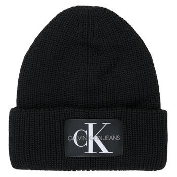Clothes accessories Women hats Calvin Klein Jeans MONOGRAM BEANIE WL Black