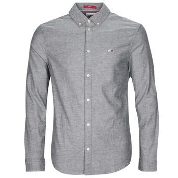 material Men long-sleeved shirts Tommy Jeans TJM STRETCH OXFORD SHIRT Black