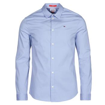 material Men long-sleeved shirts Tommy Jeans TJM ORIGINAL STRETCH SHIRT Blue