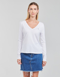material Women Long sleeved shirts Tommy Hilfiger REGULAR CLASSIC V-NK TOP LS White
