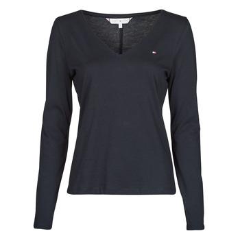 material Women Long sleeved shirts Tommy Hilfiger REGULAR CLASSIC V-NK TOP LS Marine