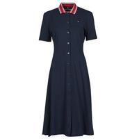 material Women Short Dresses Tommy Hilfiger PIQUE F&F MIDI POLO DRESS SS Marine