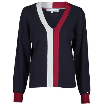 material Women jumpers Tommy Hilfiger GLOBAL STRIPE V-NK SWEATER Marine / White / Red