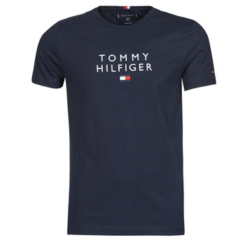 material Men short-sleeved t-shirts Tommy Hilfiger STACKED TOMMY FLAG TEE Marine