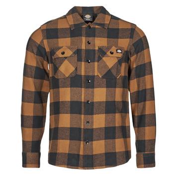 material Men long-sleeved shirts Dickies NEW SACRAMENTO SHIRT Camel / Black