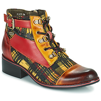 Shoes Women Ankle boots Laura Vita ALICE Yellow / Red / Brown