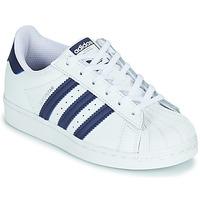 Shoes Children Low top trainers adidas Originals SUPERSTAR C White / Blue