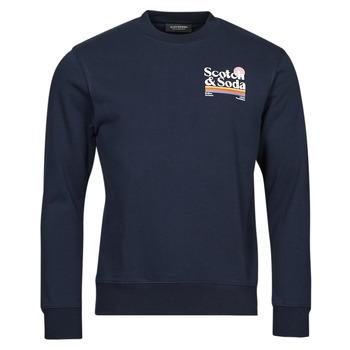 material Men sweaters Scotch & Soda LOGO ARTWORK MELANGE FELPA Marine