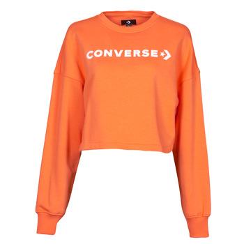 material Women sweaters Converse EMBROIDERED WORDMARK CREW Orange