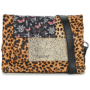 Bags Women Shoulder bags Desigual BETA ANIMAL DORTMUND FLAP Brown