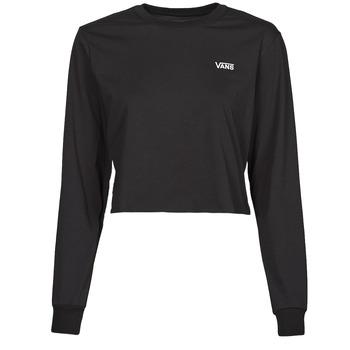 material Women Long sleeved shirts Vans JUNIOR V LS CROP Black