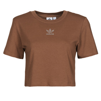material Women short-sleeved t-shirts adidas Originals CROPPED  TEE Brown