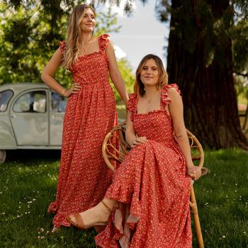 material Women Long Dresses Céleste AURORE Red
