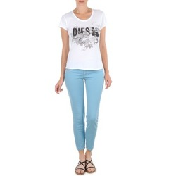 material Women cropped trousers Diesel LIVIER-ANKLE Blue