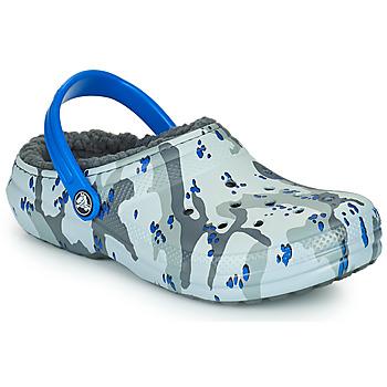 Shoes Boy Clogs Crocs CLASSIC LINED CAMO CG K Grey / Blue