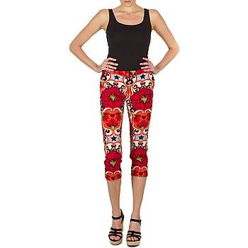 material Women cropped trousers Manoush PANTALON POPPY Red