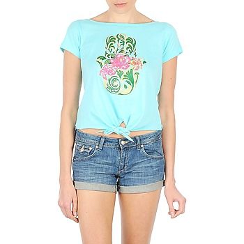 material Women short-sleeved t-shirts Manoush TSHIRT TROPC HAMSA Turquoise