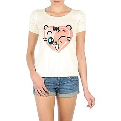 material Women short-sleeved t-shirts Manoush TEE SHIRT VALENTINE Ecru