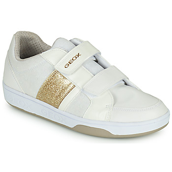 Shoes Girl Low top trainers Geox J MALTIN GIRL White / Gold