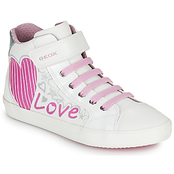 Shoes Girl Low top trainers Geox J GISLI GIRL White / Pink
