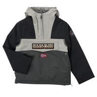 material Boy Parkas Napapijri RAINFOREST POCKET Grey / Black