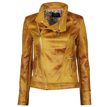 material Women Leather jackets / Imitation le Desigual MARBLE Yellow
