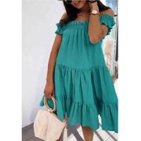 material Women Short Dresses Fashion brands R5119-VERT-D-EAU Green / Water