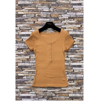material Women Blouses Fashion brands HS-2863-BROWN Brown