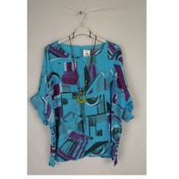 material Women Blouses Fashion brands 1300-TURQUOISE Turquoise