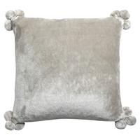 Home Cushions covers Vivaraise TENDER POMPONS Grey / Pearl