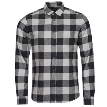 material Men long-sleeved shirts Only & Sons  ONSGUDMUND Black / White