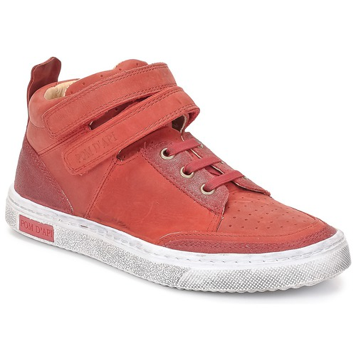 Shoes Girl High top trainers Pom d'Api BACK BASKET Red