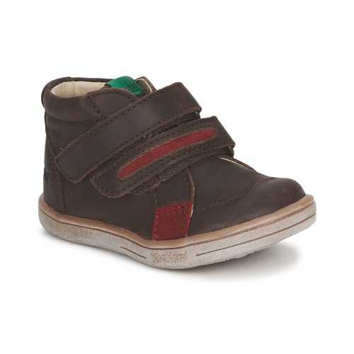 Shoes Boy Mid boots Kickers TAXI Brown / Red