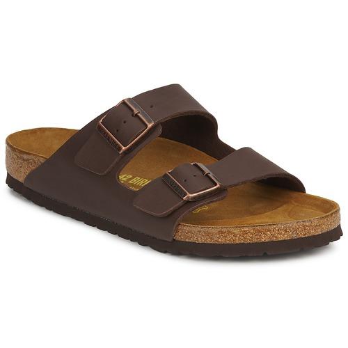 Shoes Men Mules Birkenstock ARIZONA LARGE FIT Brown / Dark