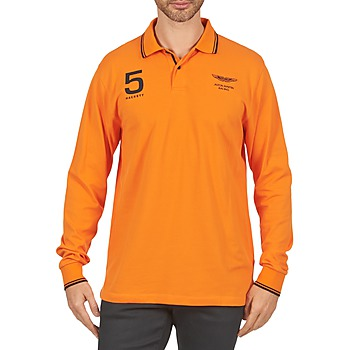 material Men long-sleeved polo shirts Hackett AMR DOUBLE TIP Orange