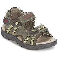 Shoes Boy Sports sandals Geox S.STRADA A Brown / Ocre tan