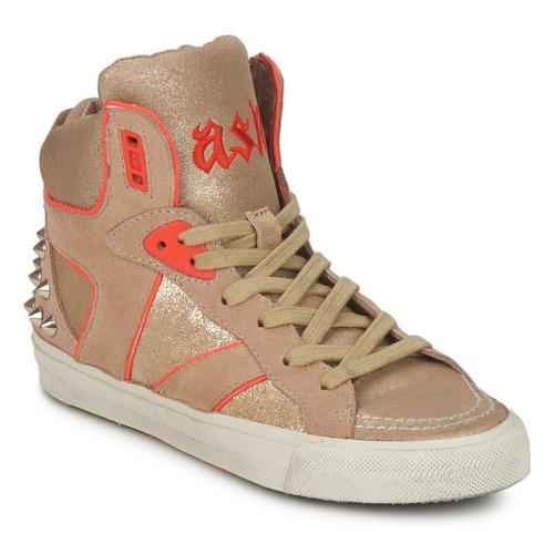 Shoes Women High top trainers Ash SPIRIT Beige / Gold / Orange