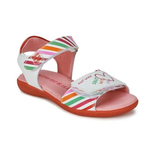 Shoes Girl Sandals Agatha Ruiz de la Prada CAZOLETA White / Multicolour