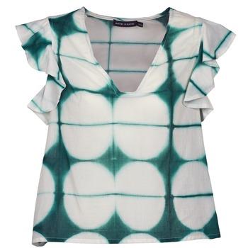 material Women short-sleeved t-shirts Antik Batik BAB White / Green