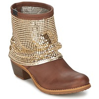Shoes Women Mid boots Bunker RIA Strass Taupe / Golden