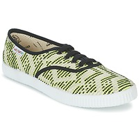 Shoes Women Low top trainers Victoria INGLES GEOMETRICO LUREX Beige / Citron / Black