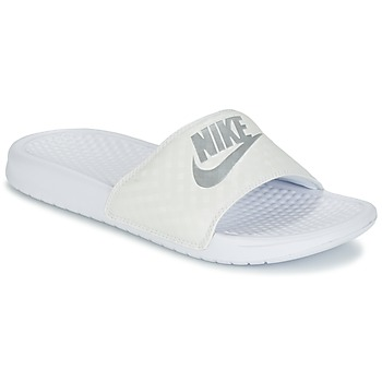 Shoes Women Mules Nike BENASSI JUST DO IT W White / Silver