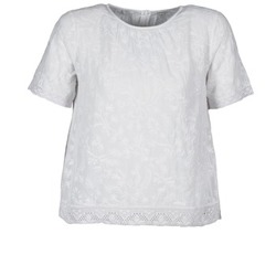 material Women short-sleeved t-shirts Manoush COTONNADE SMOCKEE White