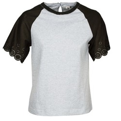 material Women short-sleeved t-shirts Manoush FANCY Grey / Black