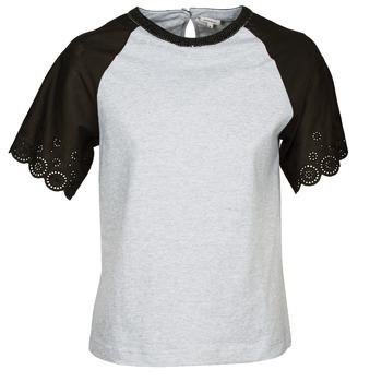 material Women short-sleeved t-shirts Manoush FANCY Grey / Black