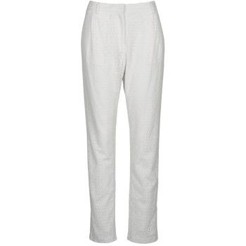 material Women 5-pocket trousers Manoush FLOWER BADGE White