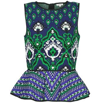 material Women Tops / Sleeveless T-shirts Manoush JACQUARD OOTOMAN Blue / Black / Green
